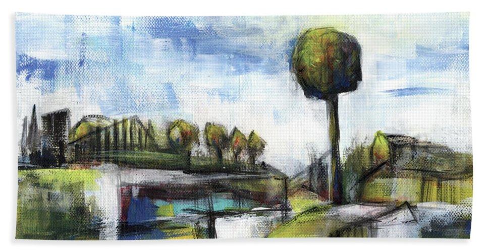 Landscape Beach Towel featuring the painting Memories from the park by Aniko Hencz