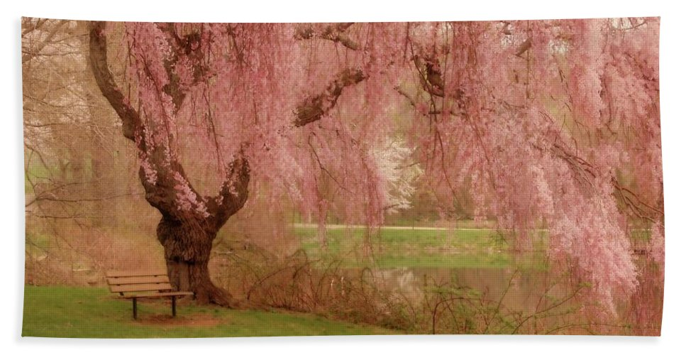 Cherry Blossom Trees Beach Towel featuring the photograph Memories - Holmdel Park by Angie Tirado