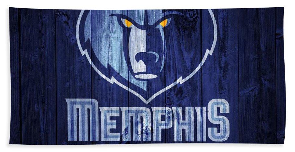 Memphis Grizzlies Barn Door Beach Towel featuring the digital art Memphis Grizzlies Barn Door by Dan Sproul