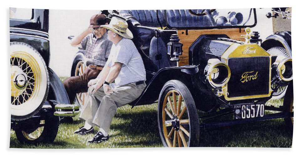 Antique Cars Beach Towel featuring the painting Men And Their Toys by Denny Bond