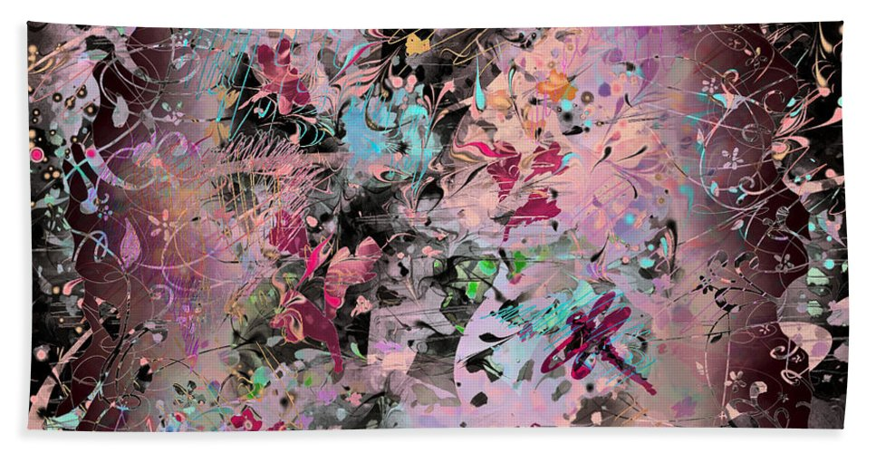 Abstract Beach Towel featuring the digital art Menagerie by William Russell Nowicki