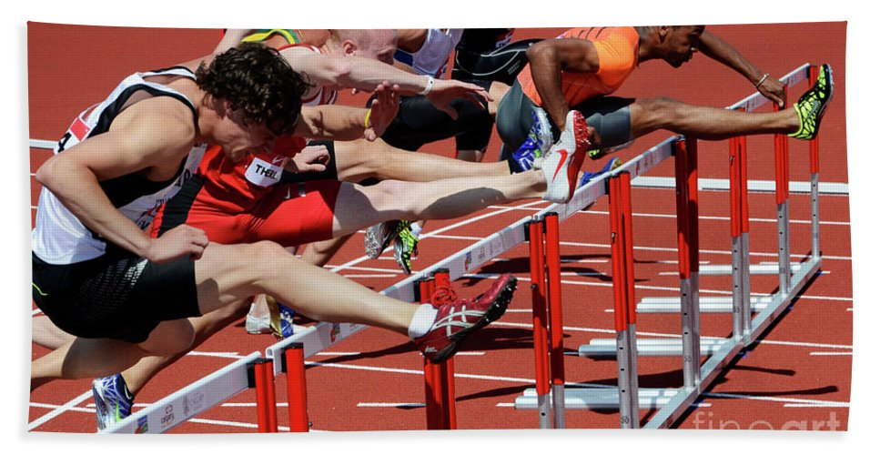 Canadian Track And Field National Championships 2011 Beach Towel featuring the photograph Mens Hurdles 2 by Bob Christopher