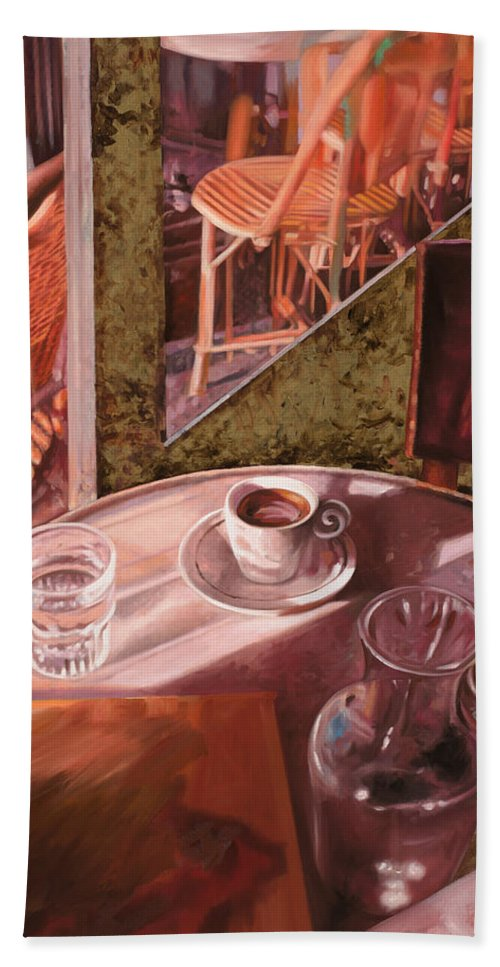 Caffe Beach Towel featuring the painting Mentre Ti Aspetto by Guido Borelli