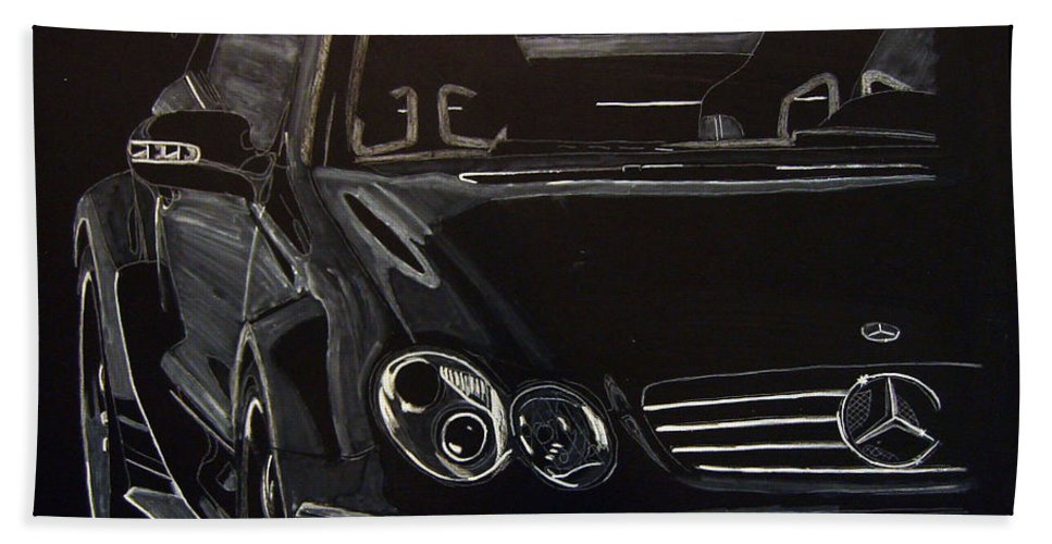 Merc Beach Towel featuring the painting Mercedes Sl by Richard Le Page