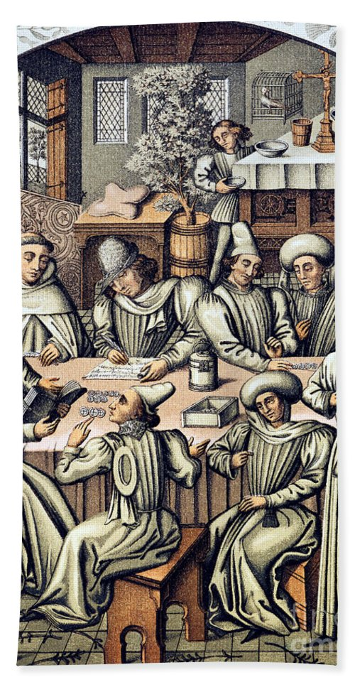 15th Century Beach Towel featuring the photograph Merchants Paying Taxes by Granger