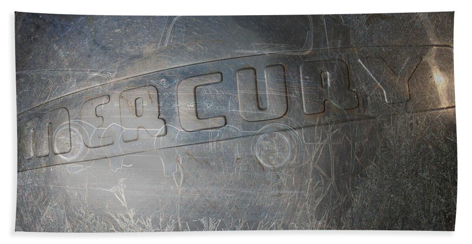 Mercury Truck Antique Auto Old Vehicle Hubcap Farm Auto Graveyard Beach Towel featuring the photograph Mercury by Andrea Lawrence