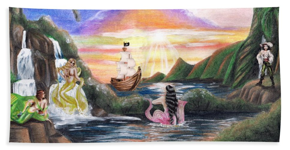Collage Beach Towel featuring the drawing Mermaid Lagoon by Scarlett Royal