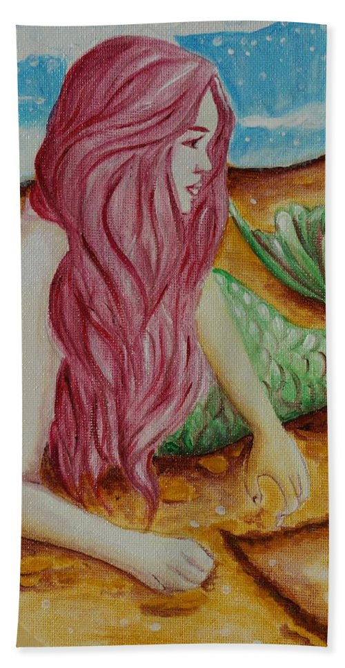 Mermaid Beach Towel featuring the painting Mermaid On Sand With Heart by Beryllium Canvas