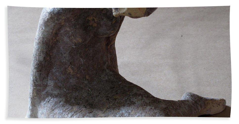Sculpture Beach Towel featuring the sculpture Mermaid by Raimonda Jatkeviciute-Kasparaviciene