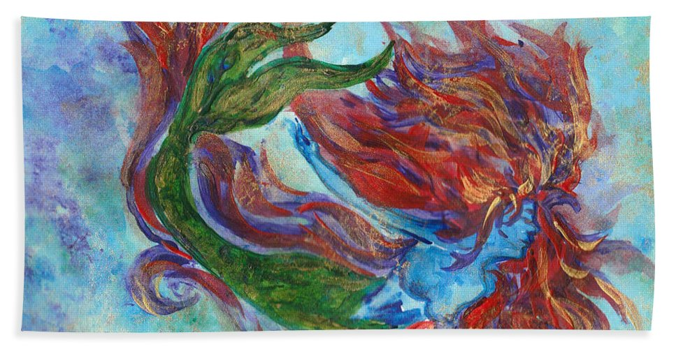 Mermaid Beach Towel featuring the painting Mermaid Swimming by Zahna Smith