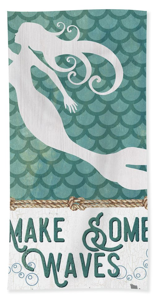 Mermaid Beach Towel featuring the painting Mermaid Waves 1 by Debbie DeWitt