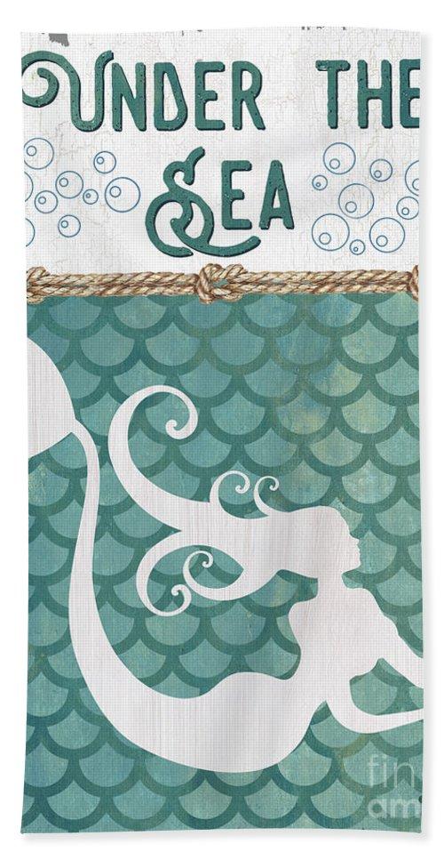 Mermaid Beach Towel featuring the painting Mermaid Waves 2 by Debbie DeWitt