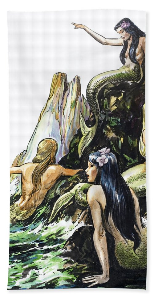 Mermaid Beach Towel featuring the painting Mermaids by Nadir Quinto