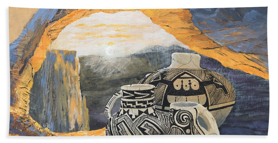Native American Beach Towel featuring the painting Mesa Arch Magic by Jerry McElroy