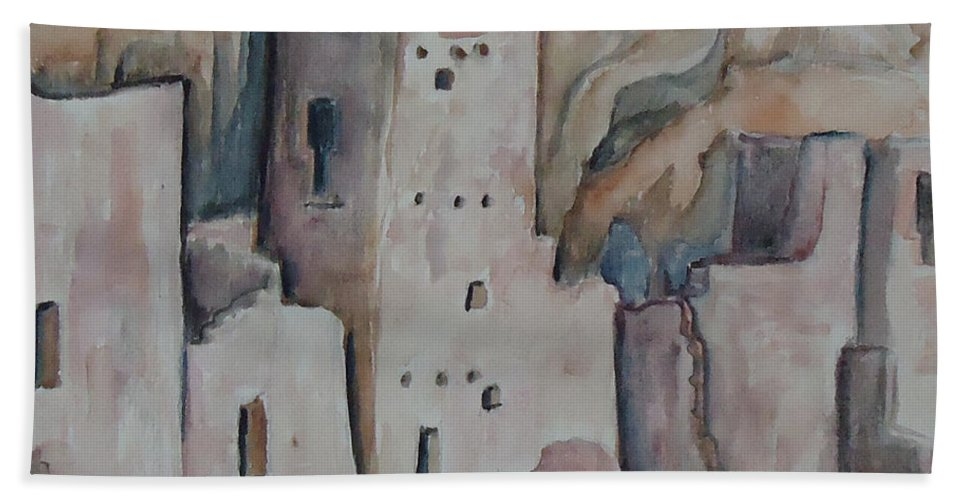 Mesa Verde In Colorado. Indian Beach Towel featuring the painting Mesa Verde In Pink by Charme Curtin