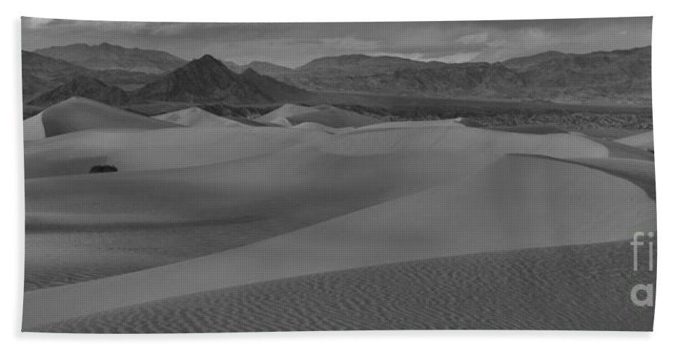 Black And White Beach Towel featuring the photograph Mesquite Sand Dunes Black And White Panorama by Adam Jewell