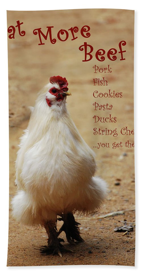 Chicken Beach Towel featuring the photograph Message From A Chicken by Lori Tambakis