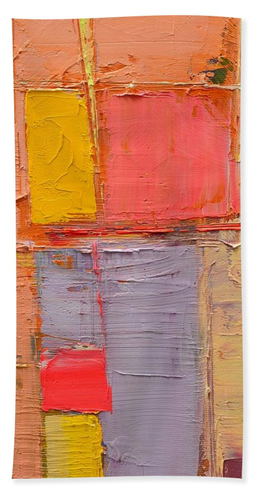Abstract Beach Towel featuring the painting Messages 1 by Ana Maria Edulescu