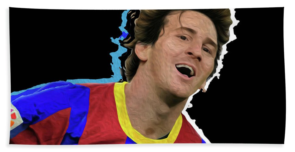 Messi Painting By By Nicholas Nixo Efthimiou Beach Towel featuring the painting Messi 3498 By Nicholas Nixo Efthimiou by Nicholas Efthimiou