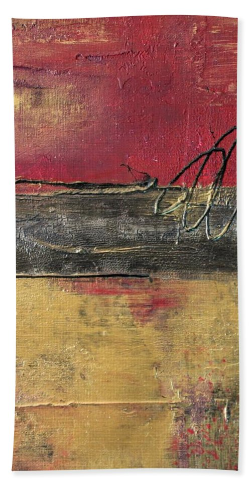 Red Beach Towel featuring the painting Metallic Square Series I - Red And Gold Urban Abstract Painting by Liz Moran