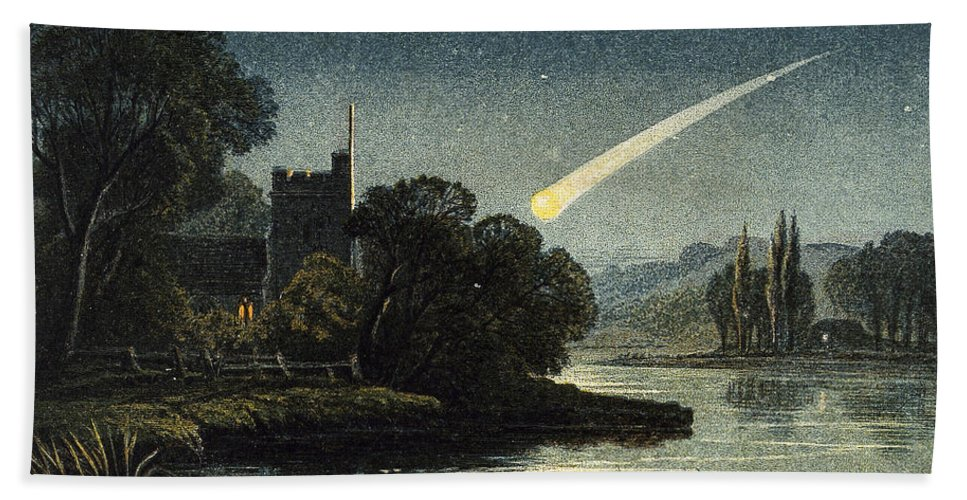 Historic Beach Towel featuring the photograph Meteor In Night Sky, 1868 by Wellcome Images