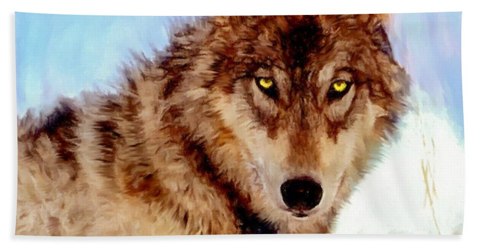 Alert Beach Towel featuring the painting Mexican Wolf Painting by Bob and Nadine Johnston