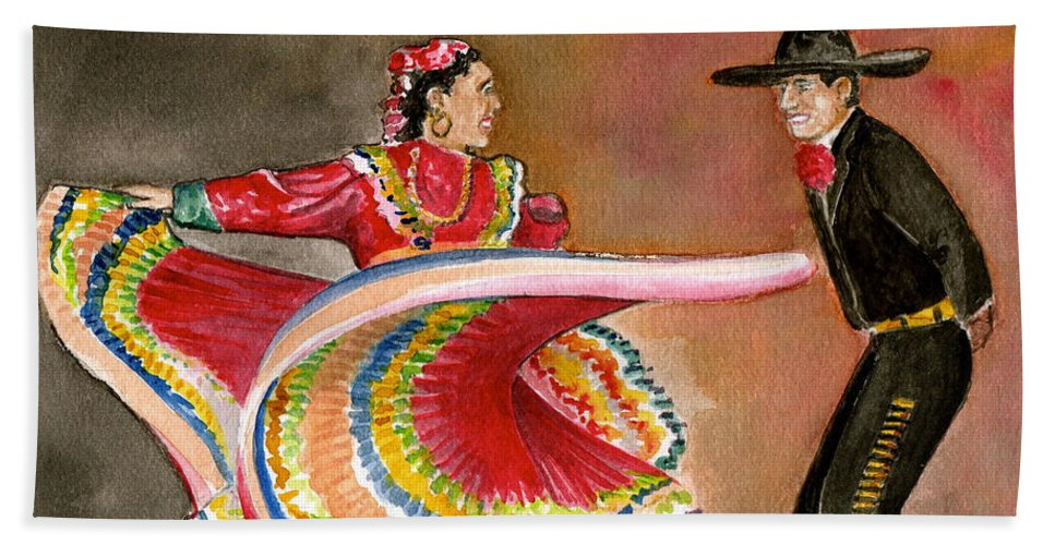 Mexico City Ballet Folklorico Swirling Dress Black Mens Outfit Dance Beach Towel featuring the painting Mexico City Ballet Folklorico by Frank Hunter