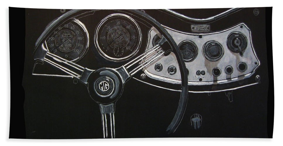 Mg Beach Towel featuring the painting Mg Dash by Richard Le Page
