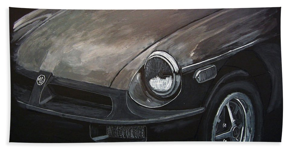 Car Beach Towel featuring the painting Mgb Rubber Bumper Front by Richard Le Page