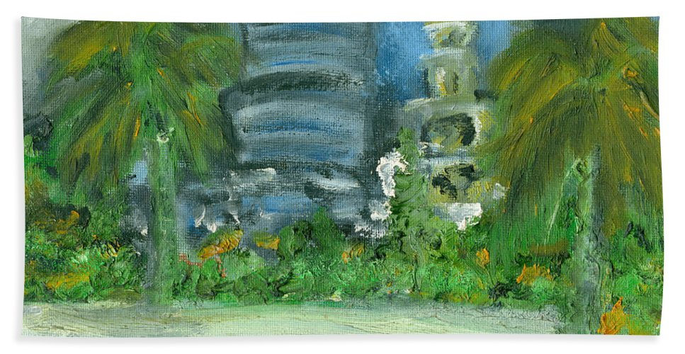 Miami Beach Towel featuring the painting Mi Miami by Jorge Delara