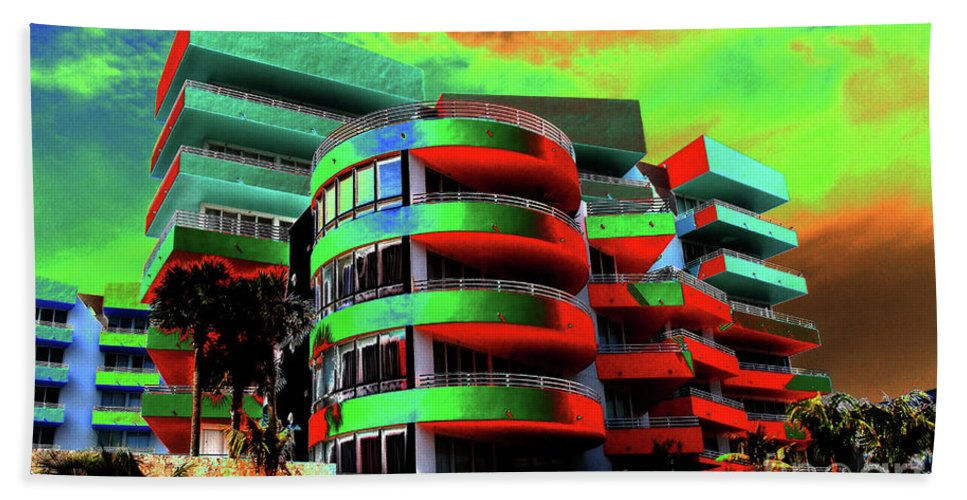 Art Deco Architecture Beach Towel featuring the painting Miami by David Lee Thompson