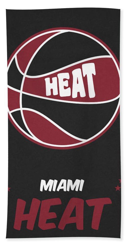 Heat Beach Towel featuring the mixed media Miami Heat Vintage Basketball Art by Joe Hamilton