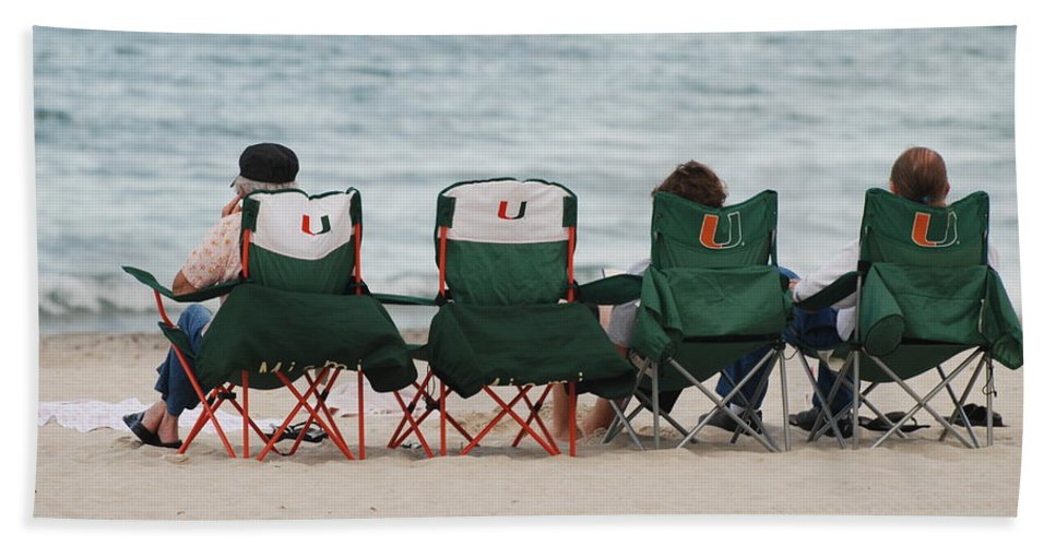 University Of Miami Beach Towel featuring the photograph Miami Hurricane Fans by Rob Hans