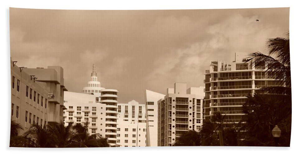 Sepia Beach Towel featuring the photograph Miami Sepia Sky by Rob Hans