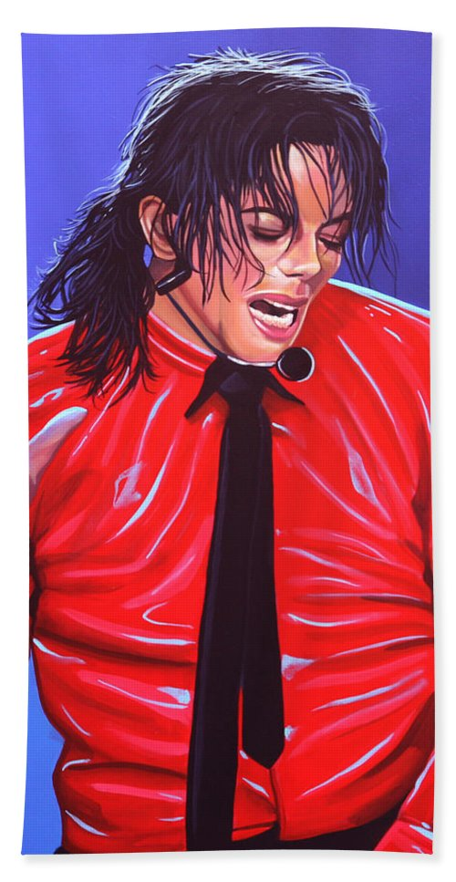 Michael Jackson Beach Towel featuring the painting Michael Jackson 2 by Paul Meijering