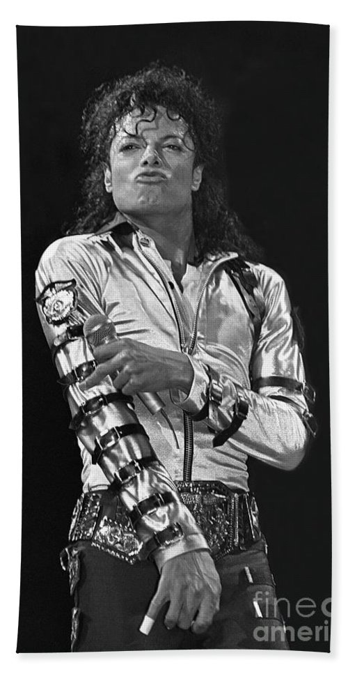 Music Legend Michael Jackson Is Shown Performing On Stage During A Live Concert Appearance Beach Towel featuring the photograph Michael Jackson - The King of Pop by Concert Photos