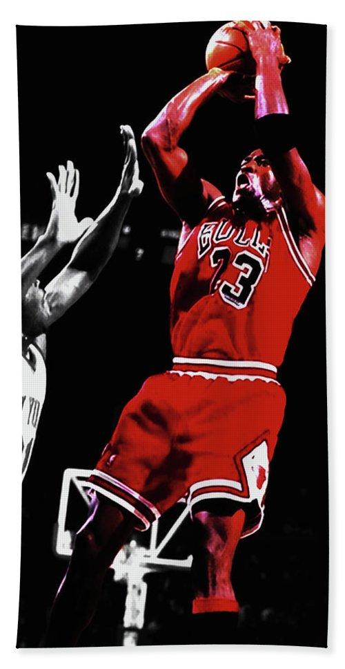 01d59d700334 Michael Jordan Beach Towel featuring the mixed media Michael Jordan Fade  Away 1a by Brian Reaves