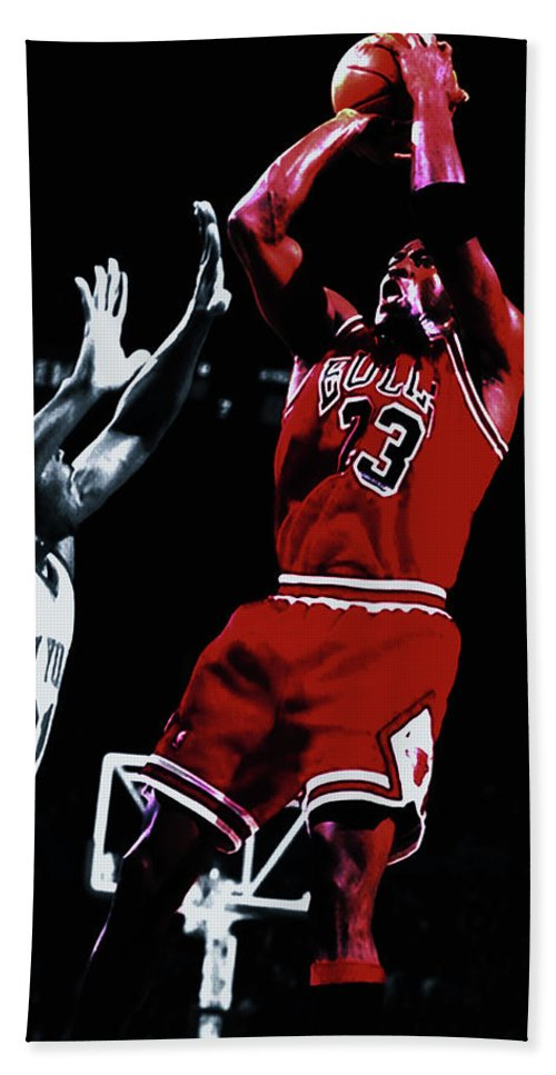 6f8a59ae6ca Michael Jordan Beach Towel featuring the mixed media Michael Jordan Fade  Away by Brian Reaves