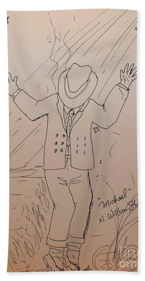 Michael Jackson Beach Towel featuring the drawing Michael by N Willson-Strader