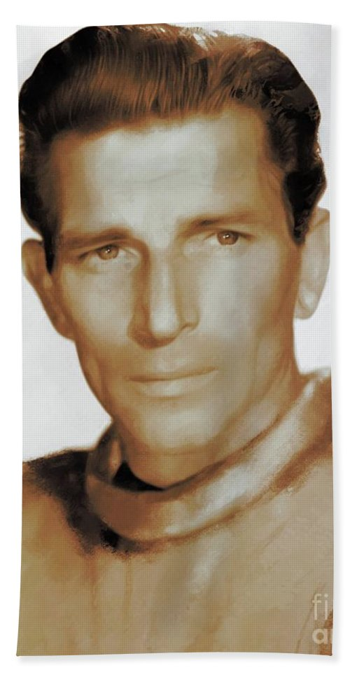 Michael Beach Towel featuring the painting Michael Rennie, Hollywood Legends by Mary Bassett