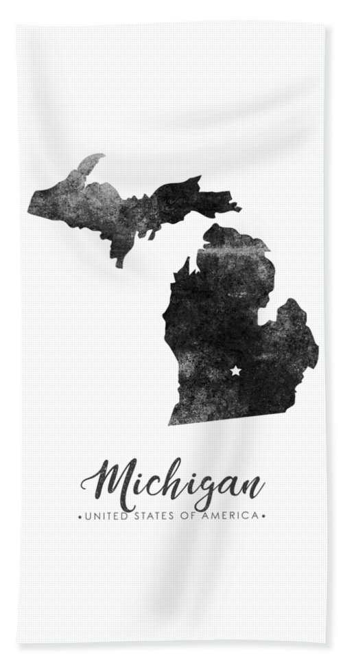 Michigan Beach Towel featuring the mixed media Michigan State Map Art - Grunge Silhouette by Studio Grafiikka