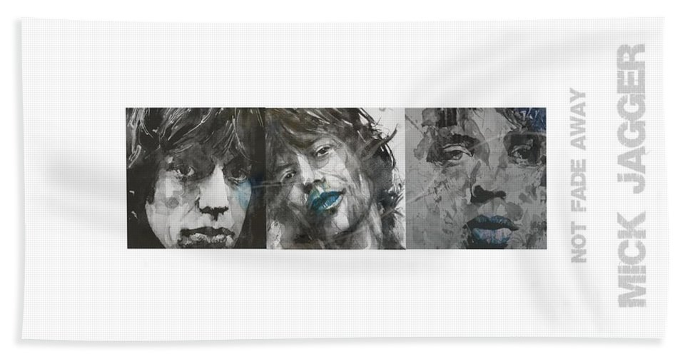 Mick Jagger Beach Towel featuring the mixed media Mick Jagger Triptych by Paul Lovering