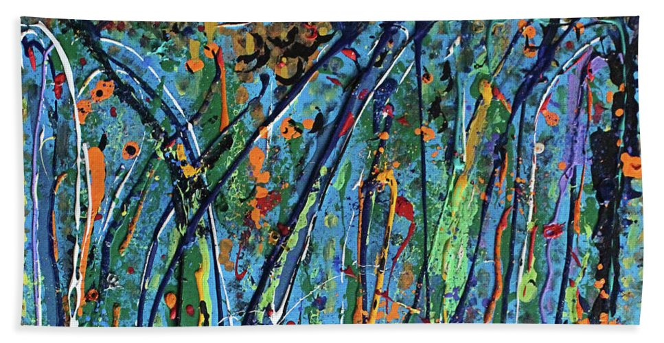 Bright Beach Towel featuring the painting Mid-Summer Night's Dream by Pam Roth O'Mara