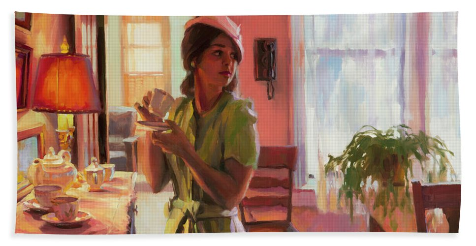 Nostalgia Beach Towel featuring the painting Midday Tea by Steve Henderson