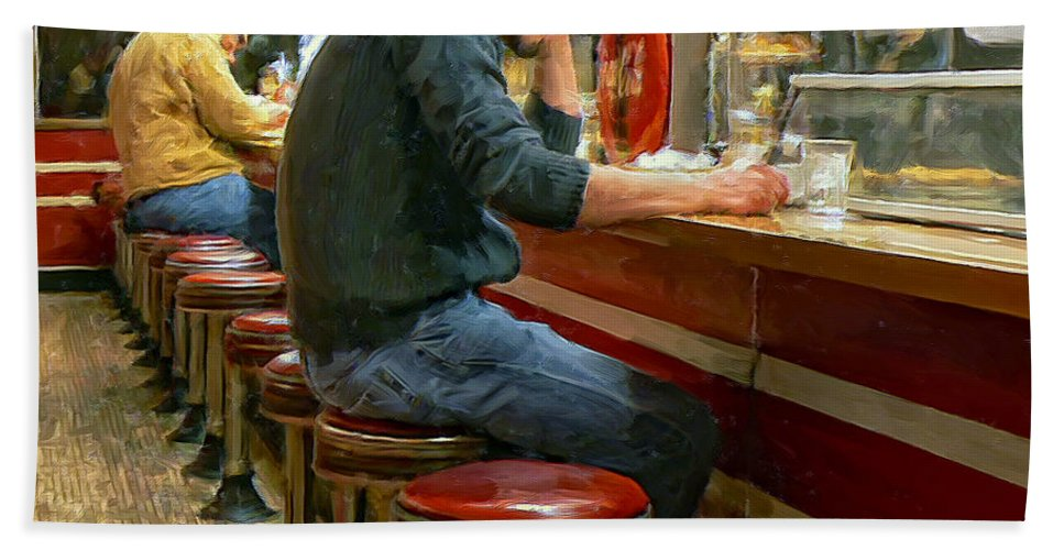 Diner Beach Towel featuring the painting Midnight At Shorty's by Dominic Piperata
