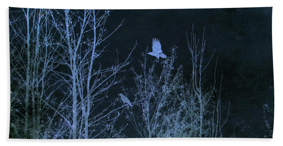 Crow Beach Towel featuring the mixed media Midnight Flight Silhouette Blue by Lesa Fine