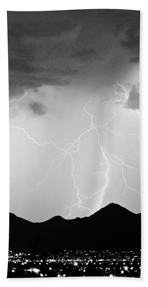 Lightning Beach Towel featuring the photograph Midnight Hour Black And White by James BO Insogna