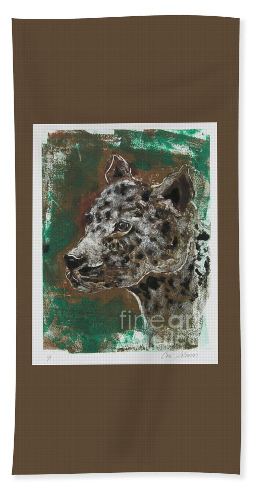 Monotype Beach Towel featuring the mixed media Midnight Prowler by Cori Solomon