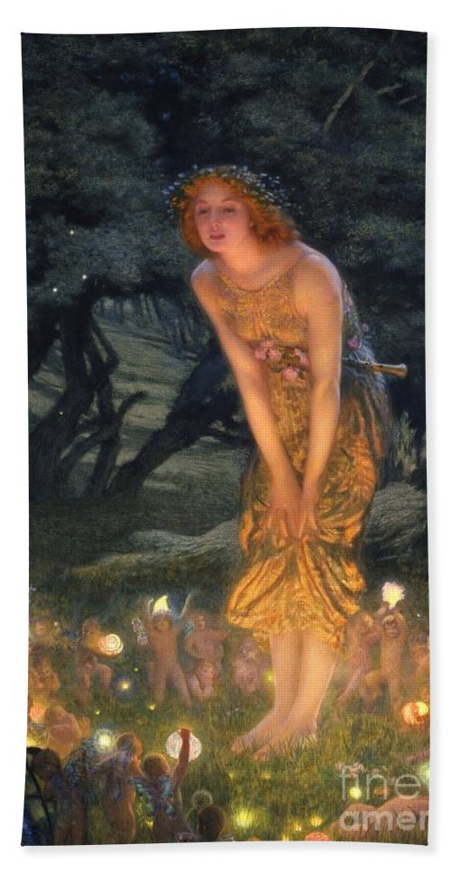 Pre Raphaelite Beach Towel featuring the painting Midsummer Eve by Edward Robert Hughes