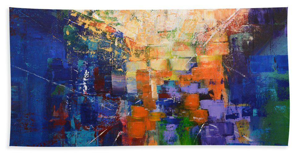 Sunrise Beach Towel featuring the painting Midtown Manhattan Sunrise by Linda Bailey